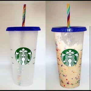 Starbucks Confetti Cup with 🌈 rainbow straw